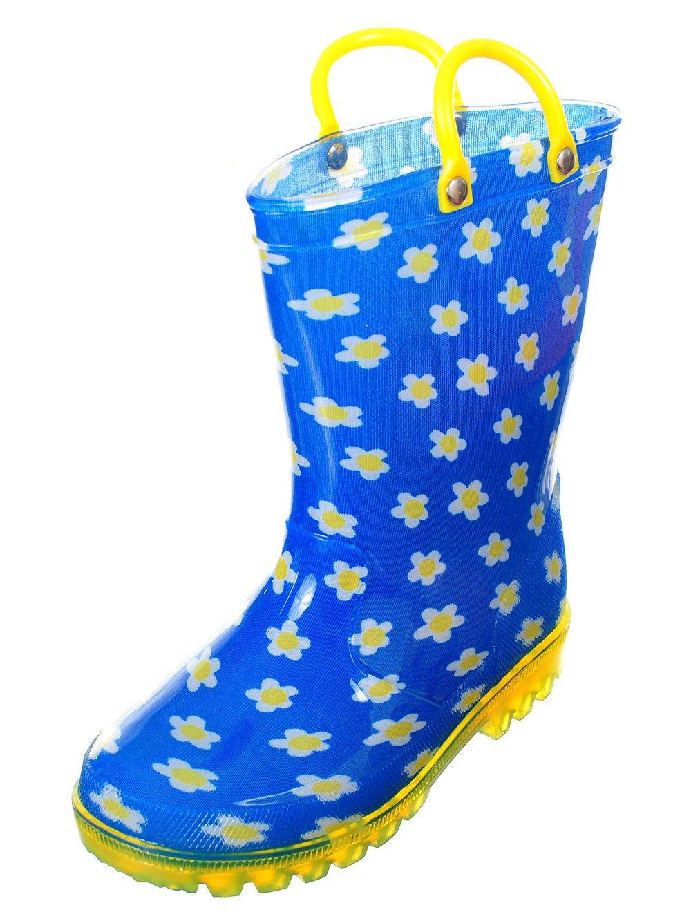 lilly Girls' Light-up Rubber Rain Boots - Blue, 12 Toddler