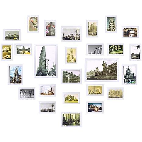 Yorbay- Conjunto de marcos para 26 fotos montado en la pared, Madera, Blanco