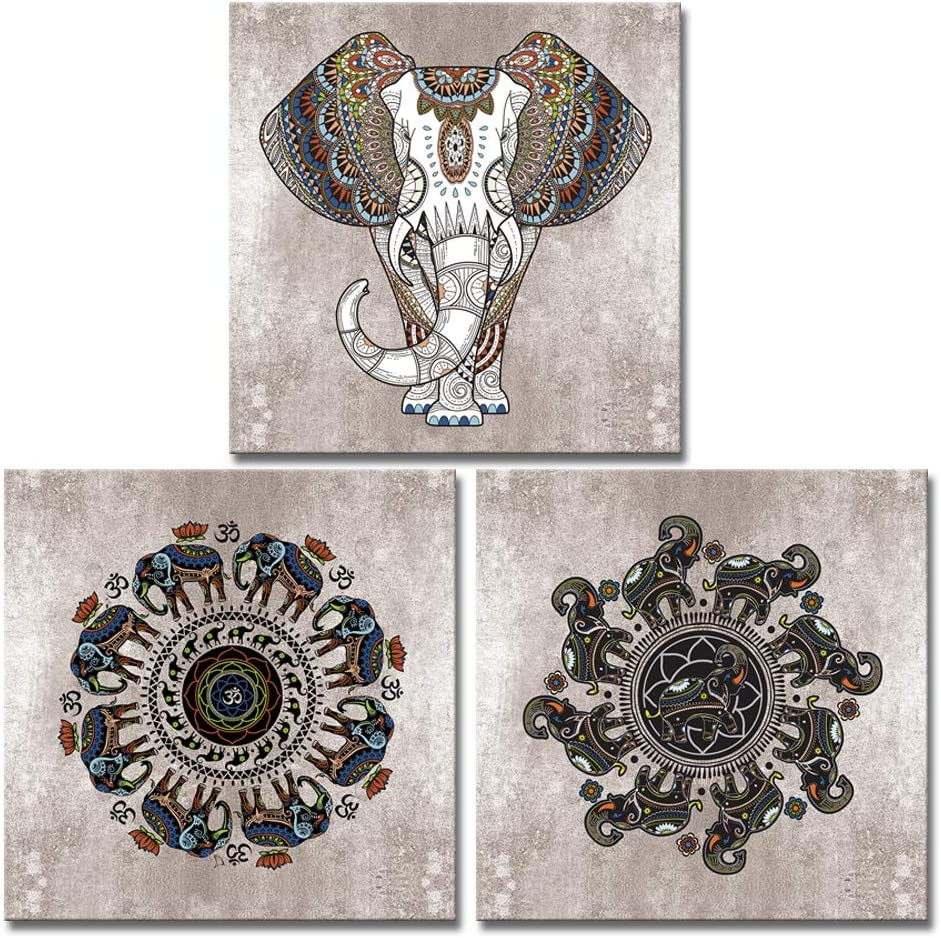 Derkymo 3 Pieces Abstract Canvas Wall Art Tribal Decor Elephant Pictures Mandala Prints Animal Framed Artwork for Home Decoration Strecthed and Framed Ready to Hang 12
