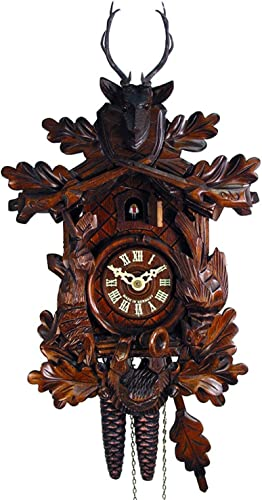 Original Mechanical Cuckoo-Clock 1-Day Certified Deer-Head, Hunter Hunting Pendulum Bird Clocks