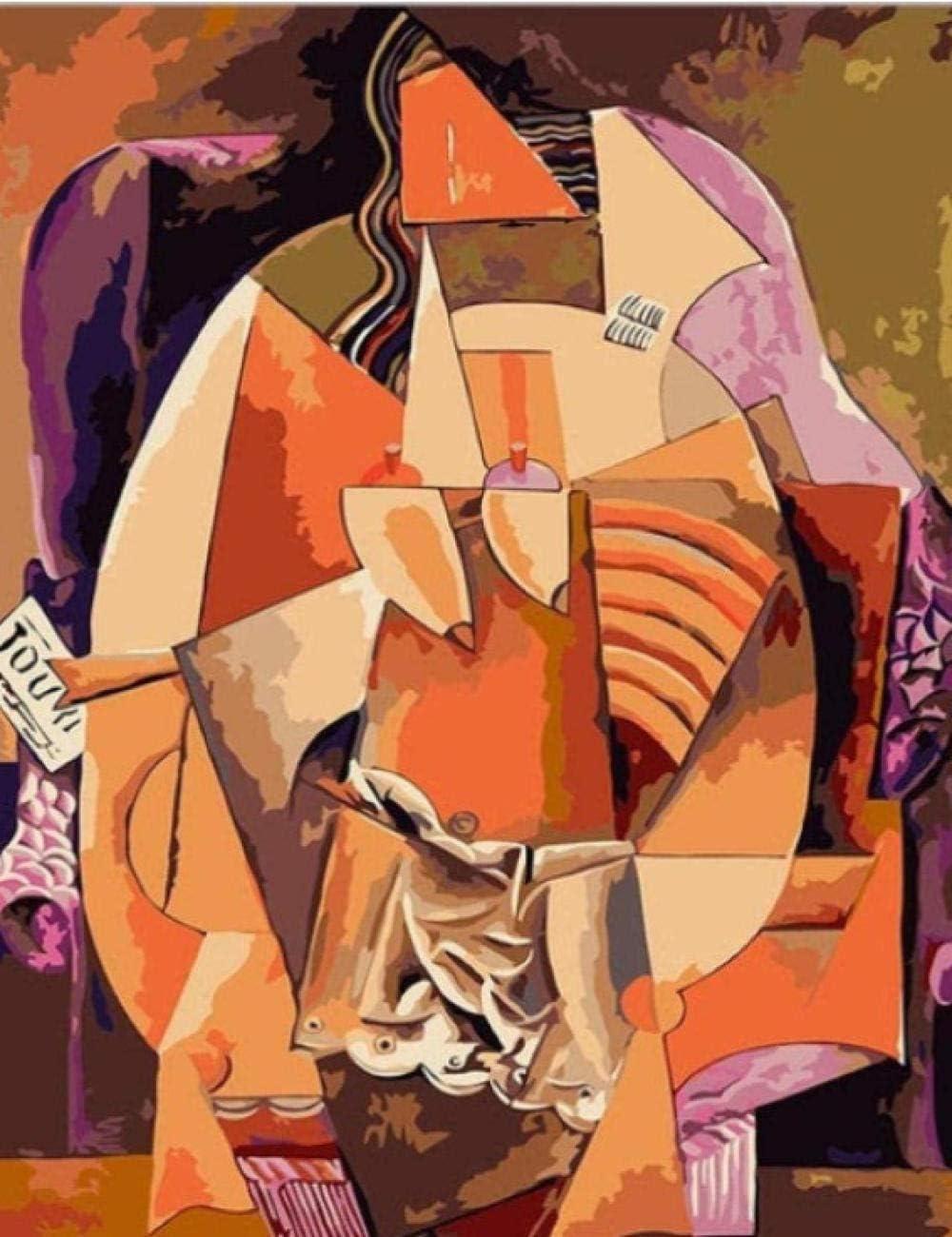 Diy Pintura al óleo Digital Picasso Pintura abstracta Música abstracta Cuadro Pintura Números & amp; Kits Decoración de habitación de hotel 40X50Cm sin marco
