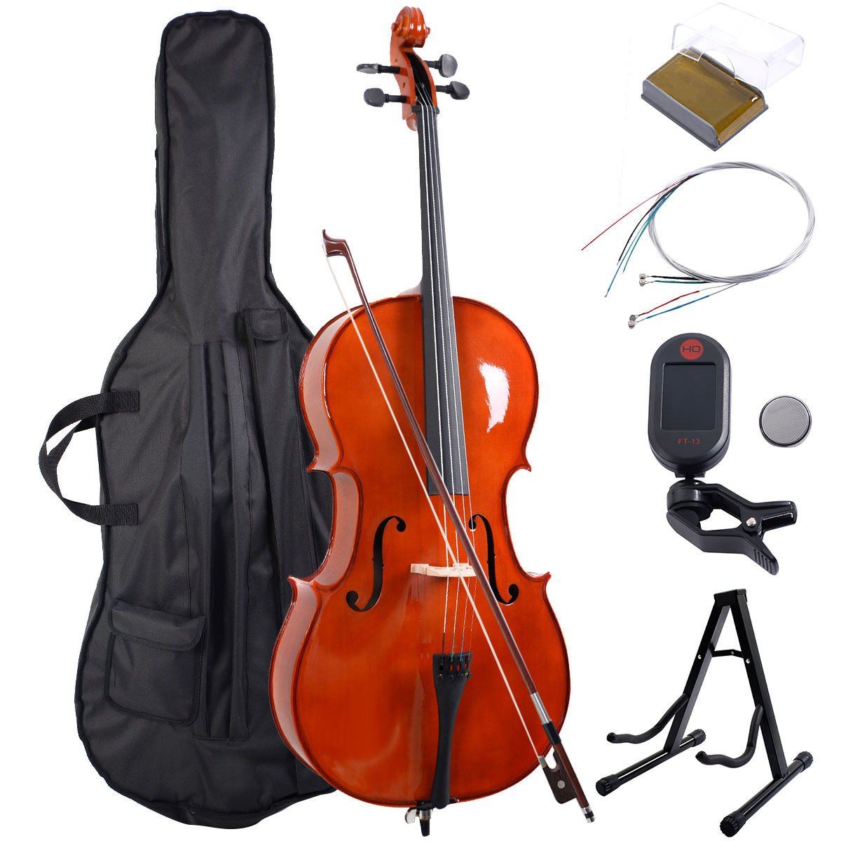 Goplus Wood 4/4 Full Size Acoustic Cello with Soft Case, Stand, Bow, Rosin, Bridge and Extra Set of Strings
