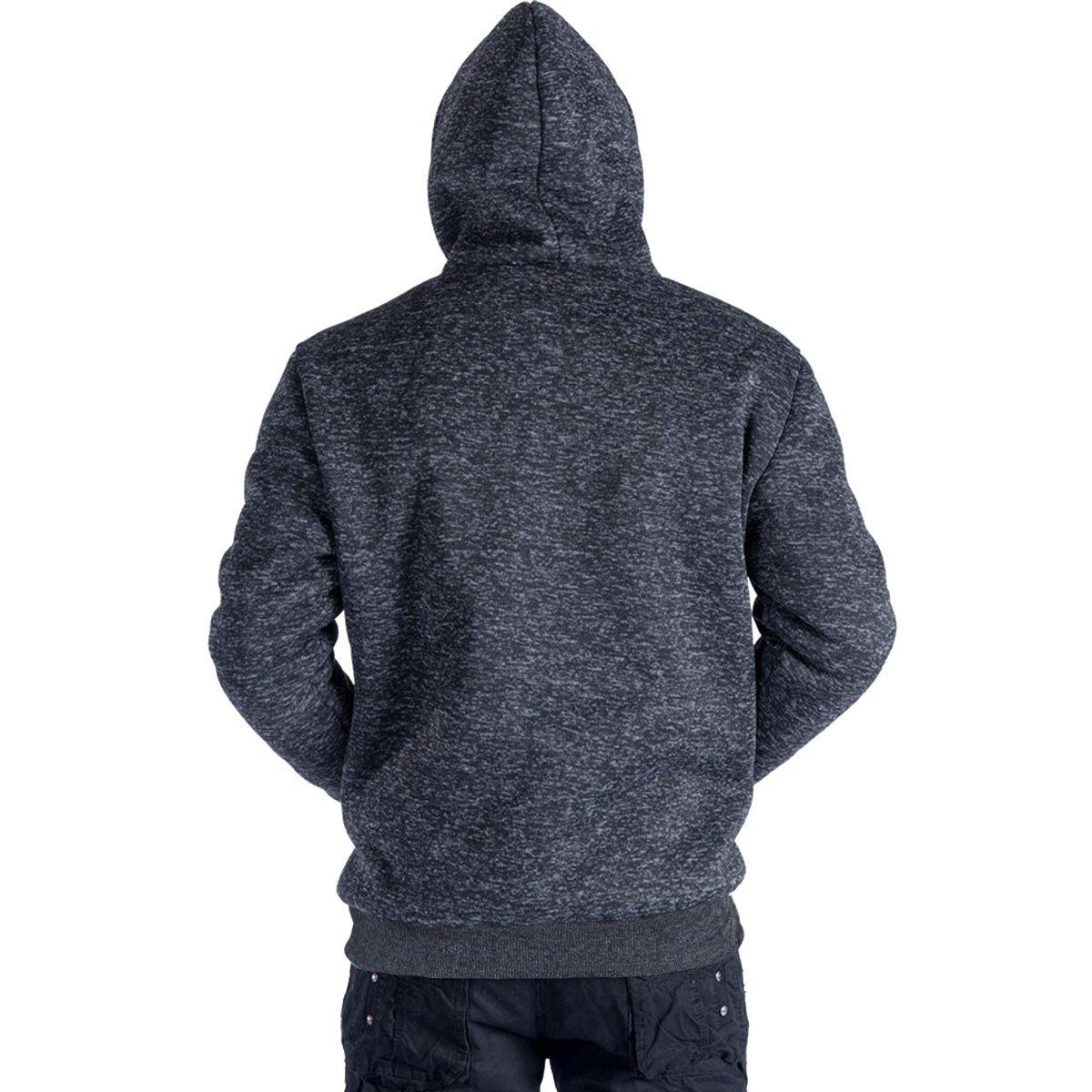 da0813f61e5 Eurogarment Plus Size S-5XL Marled Heavyweight Fleece Hoodie for Men Sherpa  Lined Full Zip