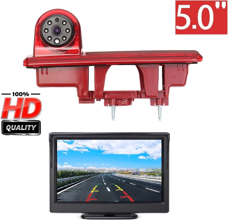 HD 3rd Brake Light Backup Camera Aftermarket Rear Reversing Camera 5.0 Inch LCD Monitor Kits for Renault Trafic Opel Vivaro Nissan Primastar Fiat Talento 2014-2019