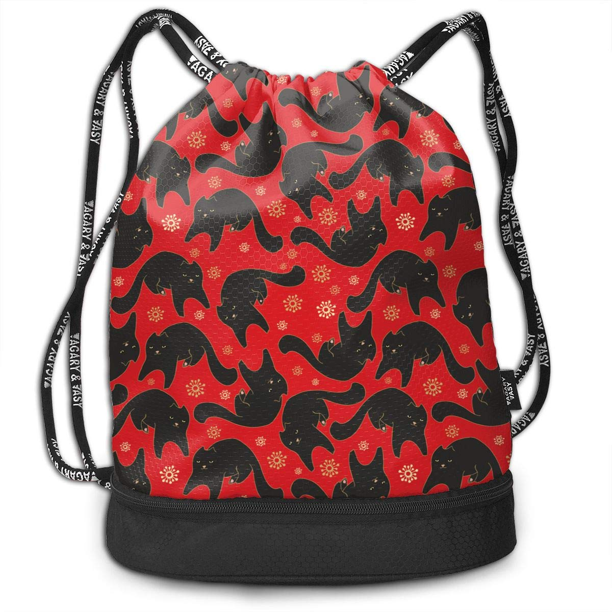 Black One Size Drawstring Backpack Cats Pattern Shoulder Bags