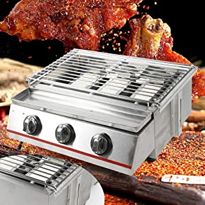 DNYSYSJ Gas Grill 3 Burner Stainless Steel Commercial BBQ Outdoor Barbecue Tabletop Cooker 2800Pa