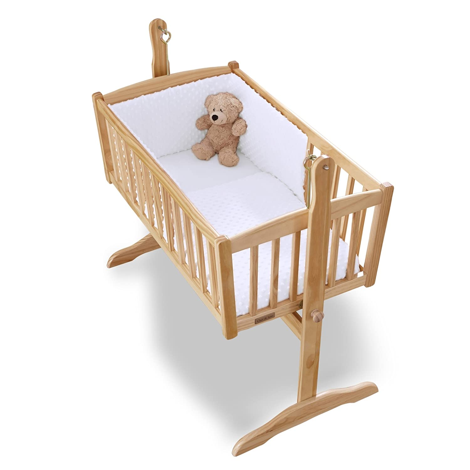 Clair de Lune Dimple Rocking Crib/Cradle Quilt and Bumper Set (White) BabyCenter CL4715