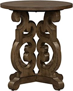 Liberty Furniture Industries Parisian Marketplace Round End Table, W22 x D22 x H25, Medium Brown