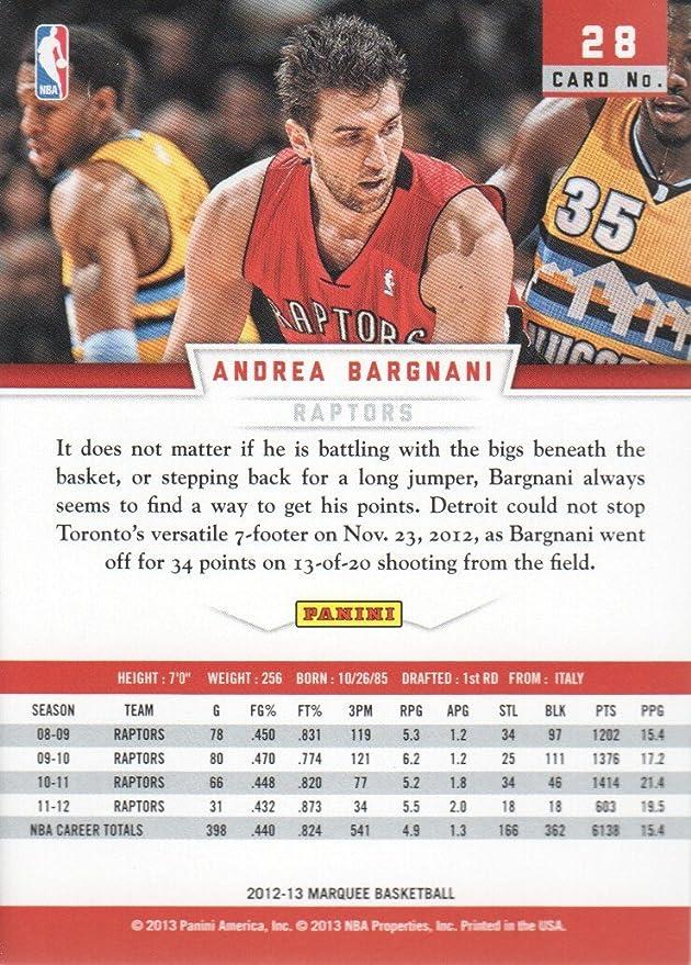 165fc466e06 2012-13 Panini Marquee Basketball  28 Andrea Bargnani Toronto Raptors at  Amazon s Sports Collectibles Store