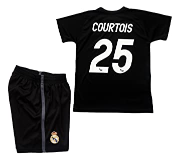 Real Madrid Conjunto Camiseta y Pantalon 1ª Equipación Portero 2018-2019 Réplica Oficial Licenciado - Dorsal 25 Courtois (Negro, Talla 12)