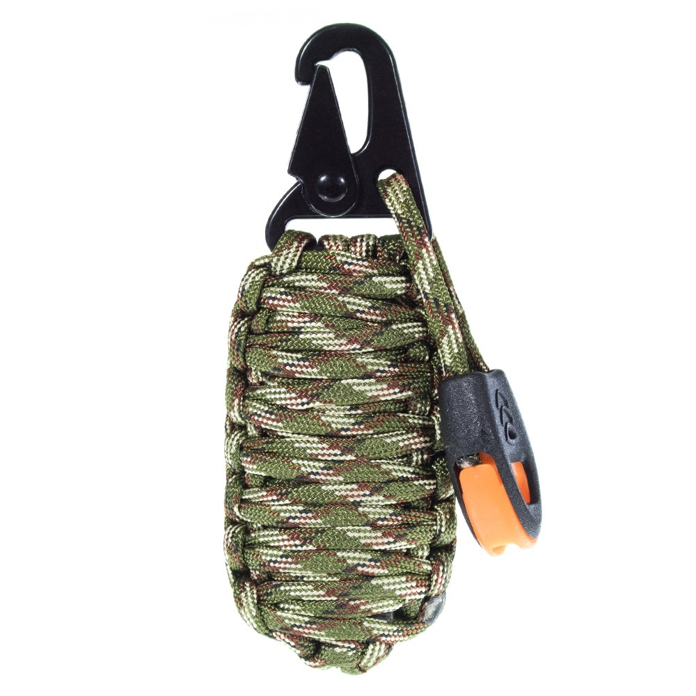 14 in 1 Paracord Grenade Emergency Survival Kit Keychain – Includes Carabiner, Fire Starter, Whistle and More – Hunting, Hiking and Camping