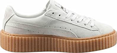 f185d2bfad3c Puma Suede Creepers Womens White Suede Lace Up Sneakers Shoes 10