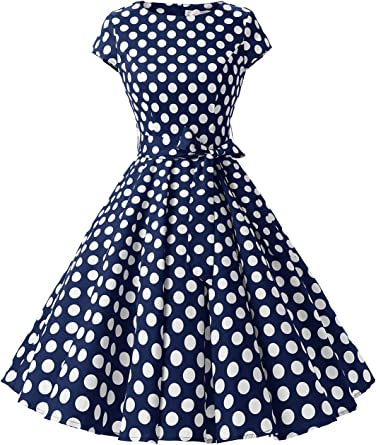 TALLA XS. Auplus AUP1956 Vintage 1950s Polka Dot and Solid Color Prom Dresses Cap-Sleeve Navy White Dot B XS Navywhitedotb