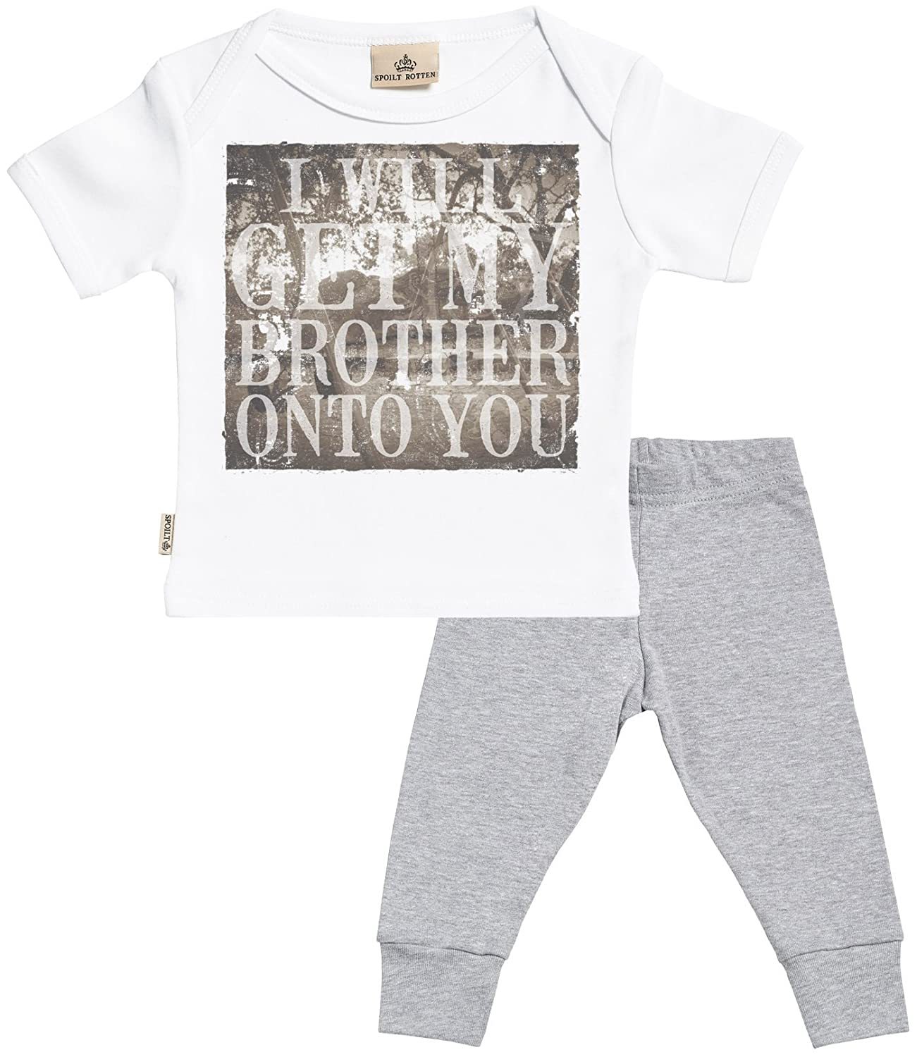 SR Baby T Shirt /& Baby Bottoms Outfit Baby T-Shirt /& Baby Jersey Trousers I Will Get My Brother onto You Baby Set