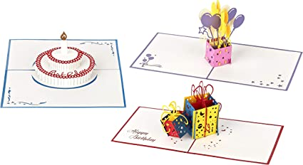 Tarjetas de cumpleaños 3D – 3 piezas (Diseño: Pastel, regalos y ...