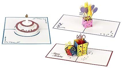 Tarjetas de cumpleaños 3D – 3 piezas (Diseño: Pastel, regalos y globos de cumpleaños) Tarjetas pop up hechas a mano - Sobres y cubiertas protectoras ...