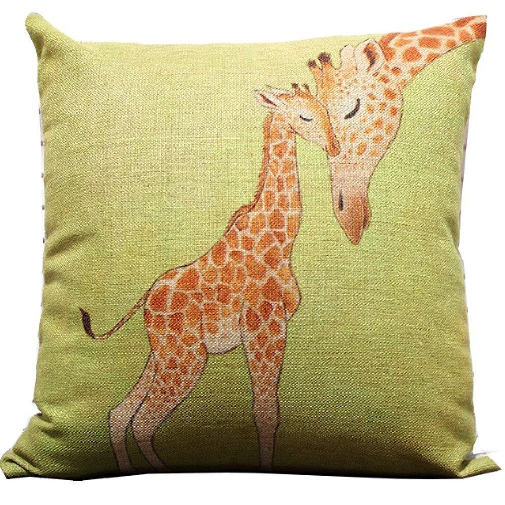 Attrayant Amazon.com: Giraffe And Its Mother Throw Pillow Case Decor Cushion Covers  Square 1818 Inch Beige Cotton Blend Linen (Multi Color): Home U0026 Kitchen
