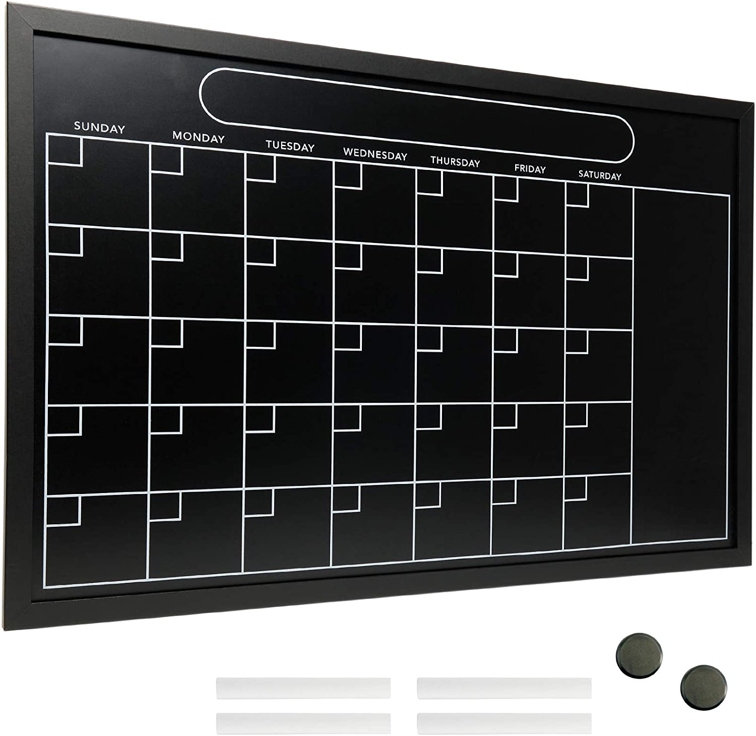 "Magnetic Calendar Chalkboard Large 20""x30"" Black Board Weekly Monthly Format Reminder Note Section Office School Planner Erasable Wall Mounted"