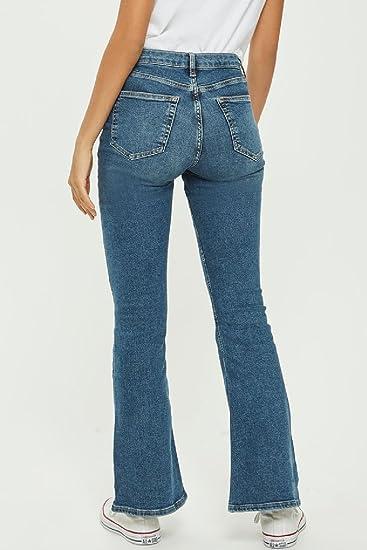 5205708f1 Zonsaoja Las Mujer Classico Vintage Denim Jeans De Cintura Alta Pantalones  De Campana De Fondo