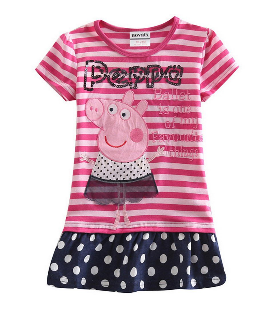 Peppa Pig Little Girls Short Sleeve Cartoon Cotton T Shirts,1-6Y Red 3T (2/3Y) Tiful