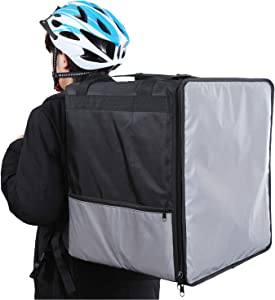 Insulated Food/Pizza Delivery Bag Backpack for Uber Eats, Extra Large Grey and Black