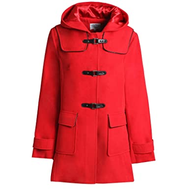 48fbf46778b1c MyShoeStore Ladies Womens Duffle Wool Trench Coat Winter Casual Hooded  Toggle Outerwear Vintage Jacket Plus Sizes 10-24  Amazon.co.uk  Clothing