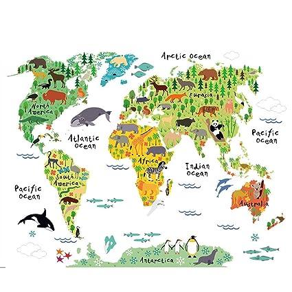 Amazon.com: AWAKINK Cartoon Background Colorful English Words World ...