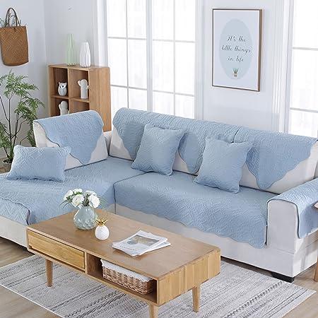 YQ WHJB Algodón Reversible Cubierta del sofá de Color sólido, Fundas sofá Protector de los Muebles para niños y Mascotas Toalla de sofá-Azul Claro ...