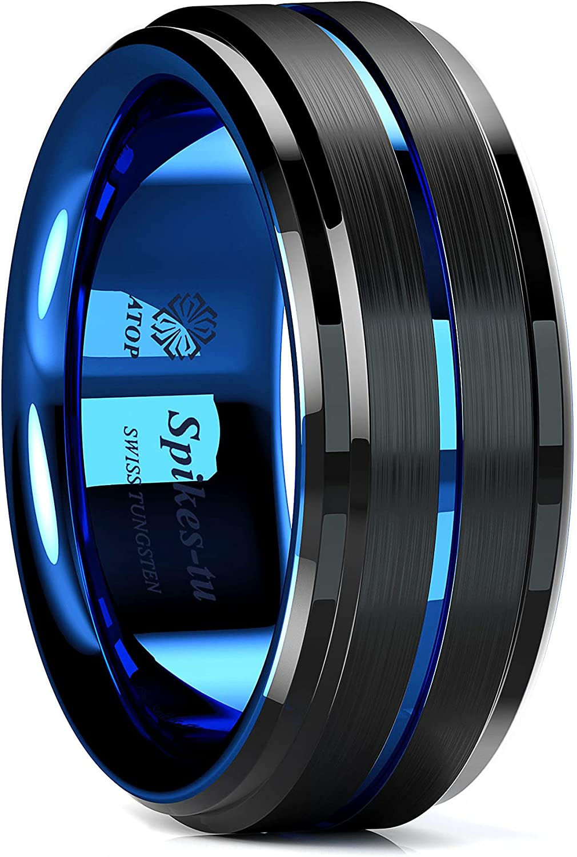 Men 8MM Comfort Fit Tungsten Carbide Wedding Band Grooved Black Ring