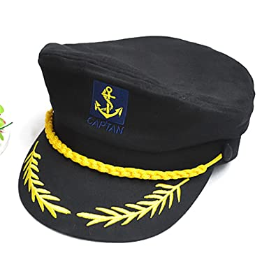 HSL yate barco marinero Capitán disfraz sombrero gorra azul marino admiral- black  Amazon.es  Ropa y accesorios 4f7df2b6a17