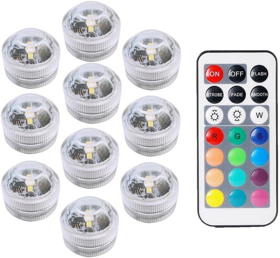 COOLEAD 10Pcs RGB LED Luz Sumergible Control Remoto Bajo el Agua