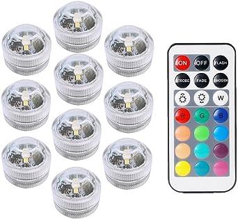 COOLEAD 10Pcs RGB LED Luz Sumergible Control Remoto Bajo el Agua Lámpara Subacuática de baño Impermeable Color Cambio Luces Acuario para Vaso Jarrón Estanque Piscina Boda Navidad Fiesta Decoración: Amazon.es: Iluminación