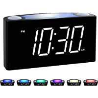 "Rocam Digital Alarm Clock for Bedrooms - Large 6.5"" LED Display with Dimmer, Snooze, 7 Color Night Light, Easy to Set…"