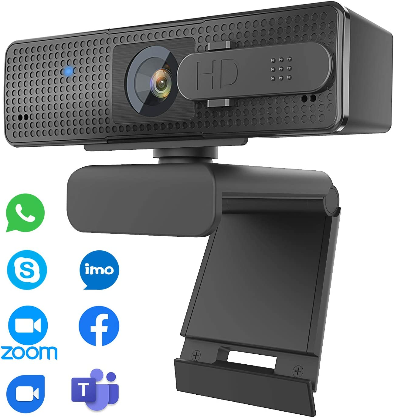 Auto Focus Webcam 1080P with Privacy Cover, Super High Definition Web Cam with Microphone for Zoom, Skype, Conference, Live Streaming Web Camera for Mac OS X Win 10 8 7 Vista XP