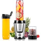 Deik Personal Blender, Single Serve Blender 500 Watt with Travel Lid for Smoothies and Shakes, Mixer Blender with 20oz Sport Bottle, Coffee Grinder Cup for Coffee Bean, BPA FREE, Silver