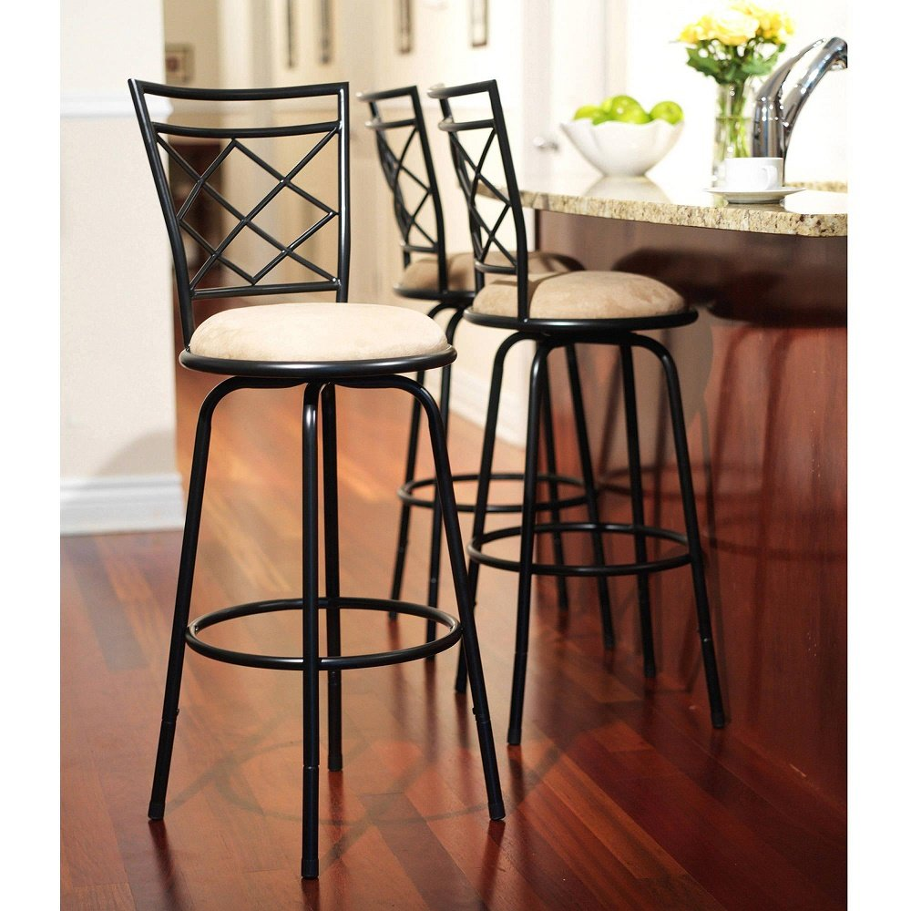 amazoncom avery adjustable metal bar stools kitchen  dining -