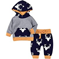 Baby Deer Long Sleeve Hoodie Tops+Sweatsuit Pants Clothes Set Infant Outfits