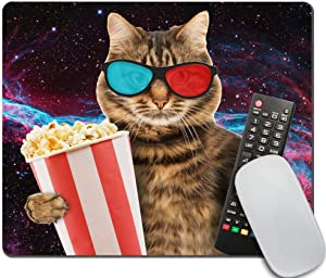 Amcove Funny cat in The 3D Glasses with Popcorn Basket Mousepad Non-Slip Rubber Gaming Mouse Pad Rectangle Mouse Pads for Computers Laptop Cat Desk Accessories