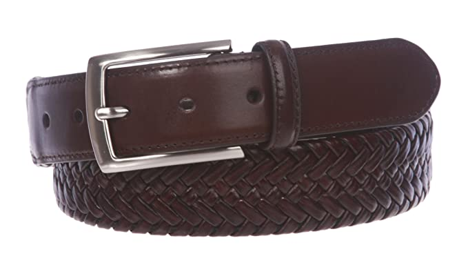 Men S Comfort Stretch Braided Leather Belt At Amazon Men S Clothing
