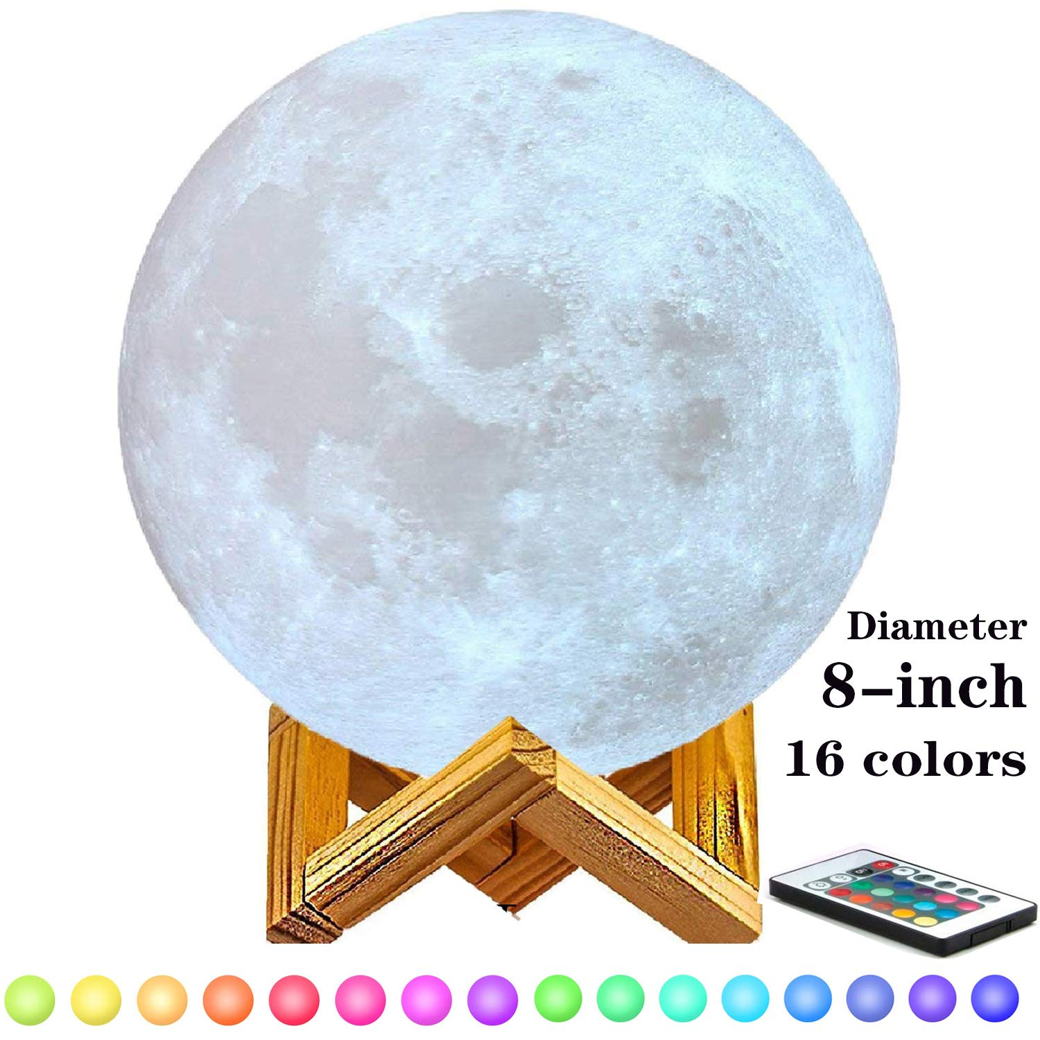 8-inch Moon Lamp Moon Light (6''-11''), 3D Printing Moon Lamp with Stand, Touch Control and Remote Control with LED 16 Colors.