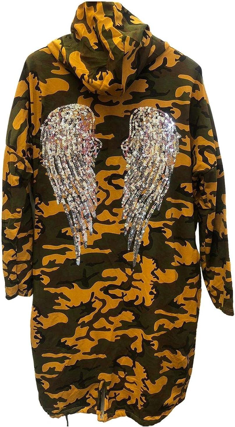 Hamishkane New Ladies Sequin Angel Wings Back Baggy Oversized Hoodie Sweatshirt Cardigan Jacket