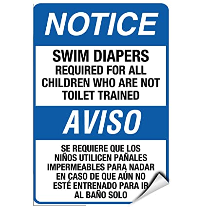 Swim Diapers Required For Toilet Untrained Children LABEL DECAL STICKER 12 inches x 18 inches
