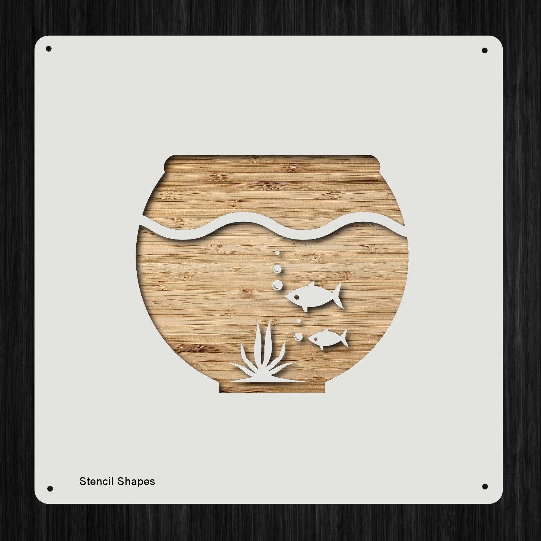 魚のボウル 水槽 ペット魚 プラスチック マイラーステンシル 塗装 壁 工芸用 アイテム 46757   B07DLJMSDJ