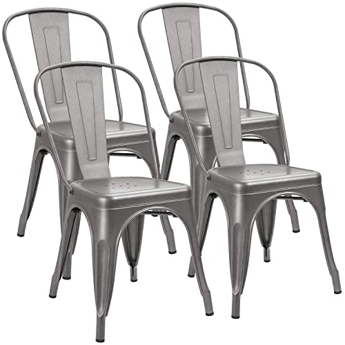 Furniwell Metal Dining Chairs Indoor-Outdoor Use Stackable Kitchen Chair Trattoria Side Chic Dining Bistro Cafe Chairs with Back Set of 4 Grey