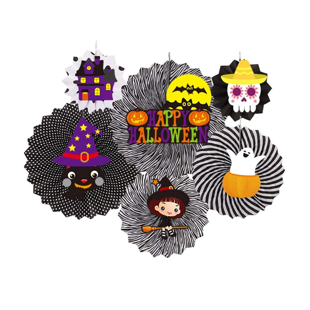 Coxeer Hanging Paper Fan Halloween Decorations Creative DIY
