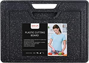 Cutting Board for Kitchen (2-Piece Set), Dishwasher Safe, Juice Grooves, Marble Appearance, Large Thick Boards, Food Safe Plastic Material, Non-Porous, BPA Free, Easy Grip Handle (Black)