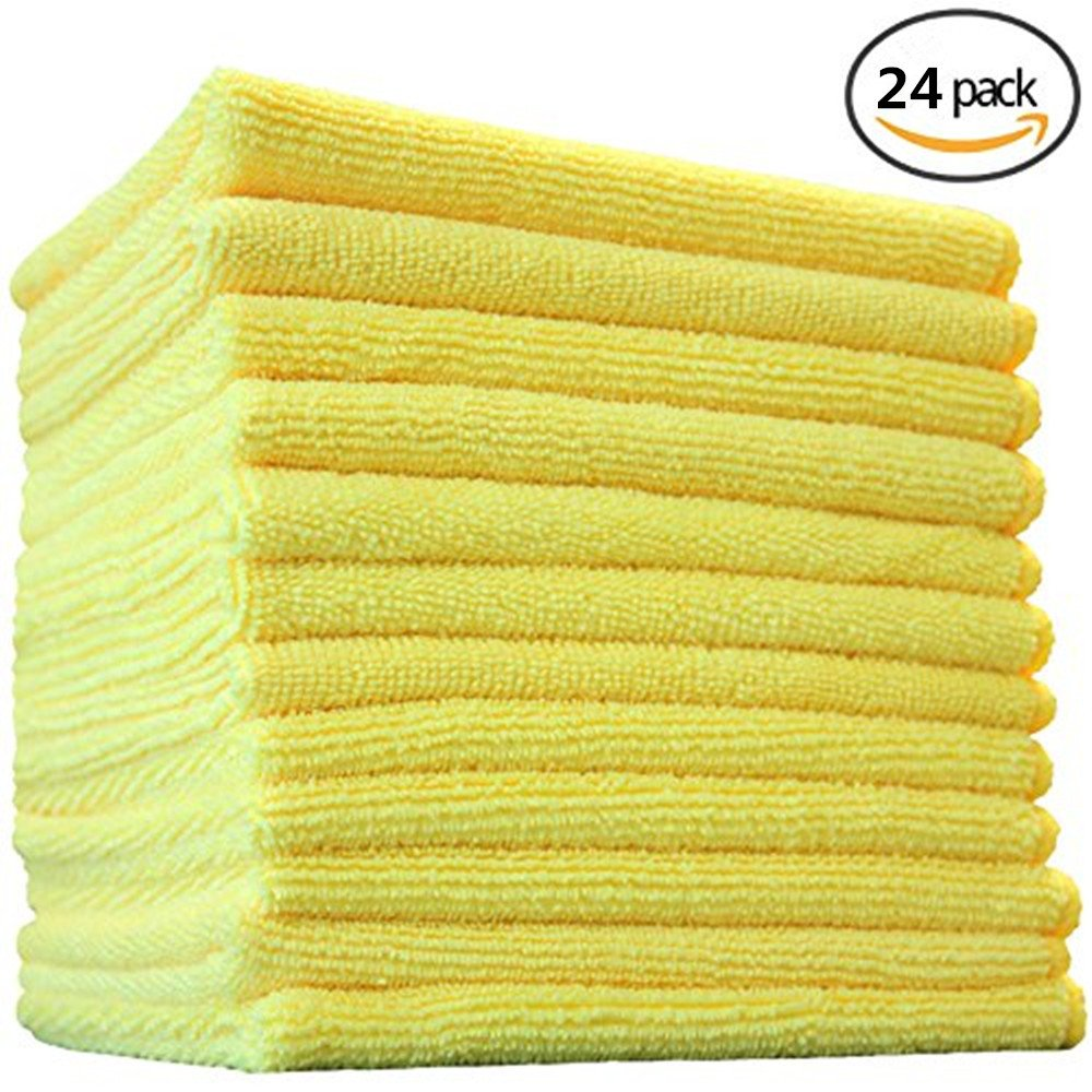 Geekinstyle Pro Multi-Purpose Microfiber Towel – 24 Pack | Premium Cleaning Cloths Rag for Kitchen Furniture Car | Clean, Dust, Polish, Absorb | Small 12''x12'' (Yellow)