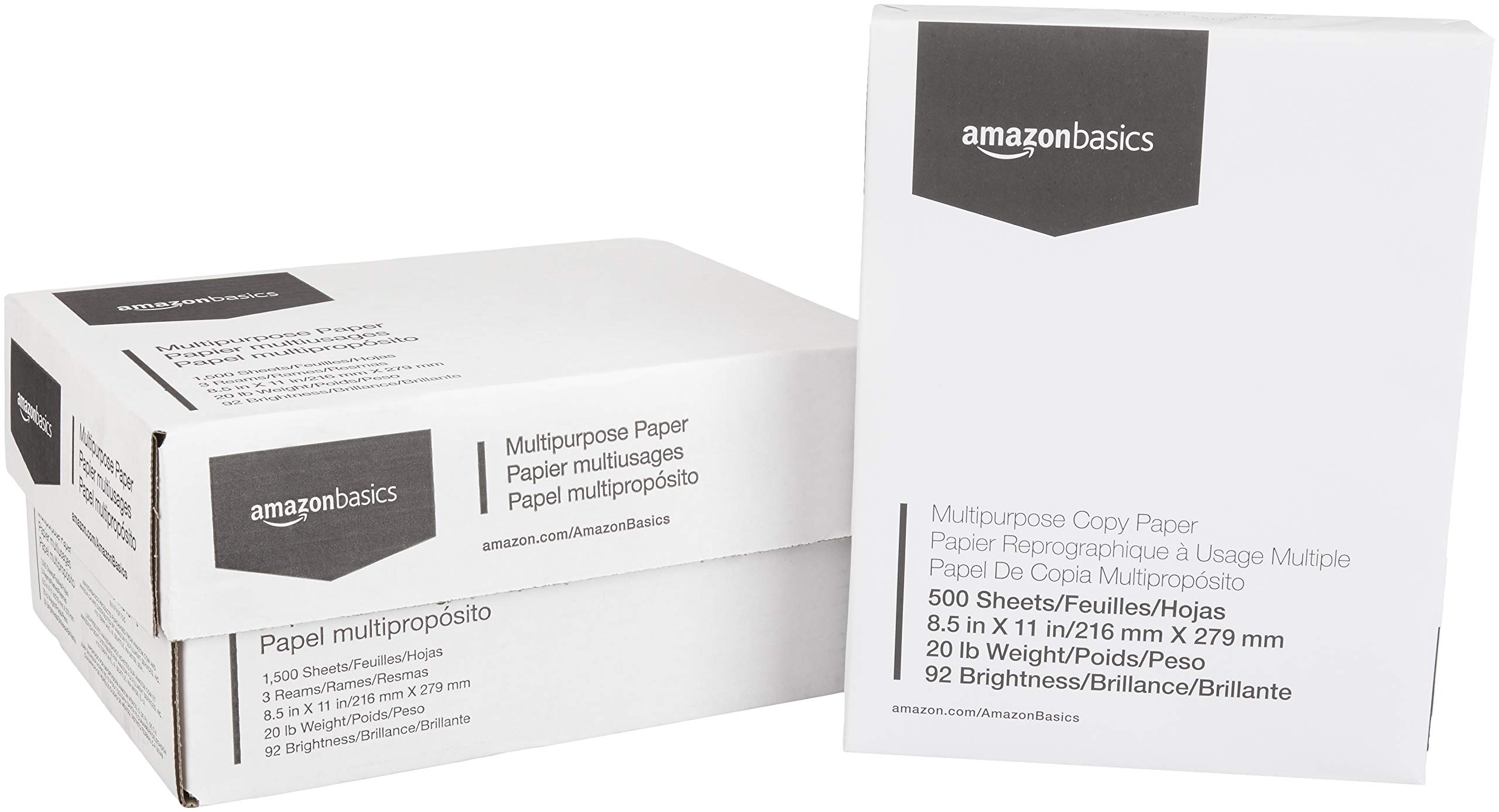 AmazonBasics 92 Bright Multipurpose Copy Paper - 8.5 x 11 Inches, 3 Ream Case (1,500 Sheets) product image