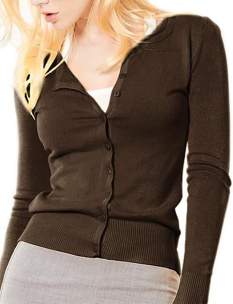 9e66f173b LE3NO Womens Basic Button Down Long Sleeve Soft Knit Cardigan ...