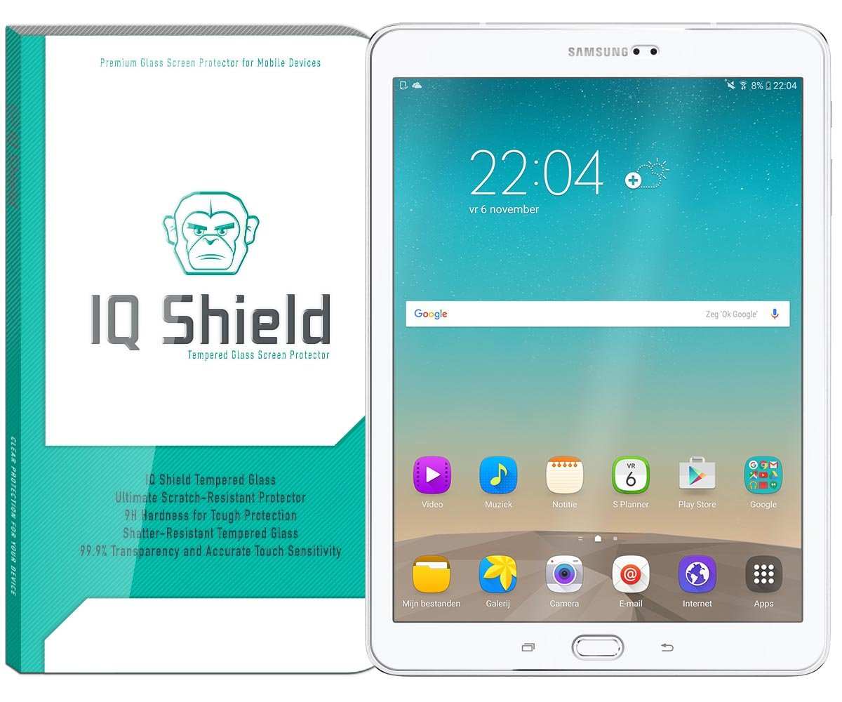 IQ Shield Glass Screen Protector Compatible with Samsung Galaxy Tab S3  (Galaxy Tab S2 9 7 inch Compatible) Clear Tempered Ballistic Glass HD and